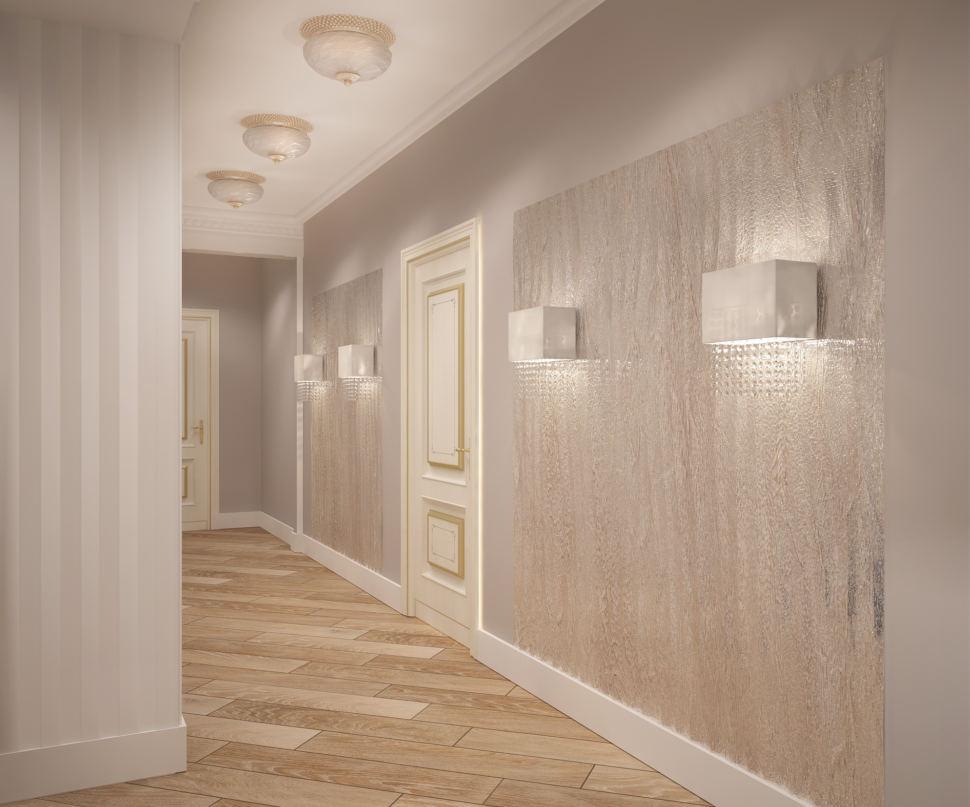 Визуализация коридора 14 кв.м, с белыми и бежевыми оттенками, лампы, бежевый паркет, белые настенные светильники