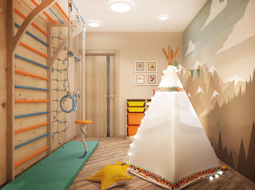 Дизайн интерьера игровой комнаты в светлых тонах 9 кв.м, вигвам, шведская стенка, бежевая тумба, декор, светильники, фотообои