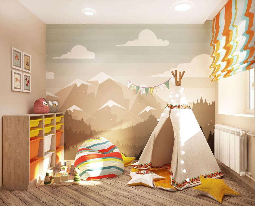 Интерьер игровой комнаты в светлых тонах 9 кв.м, белый вигвам, бежевая тумба, цветное кресло-мешок, фотообои