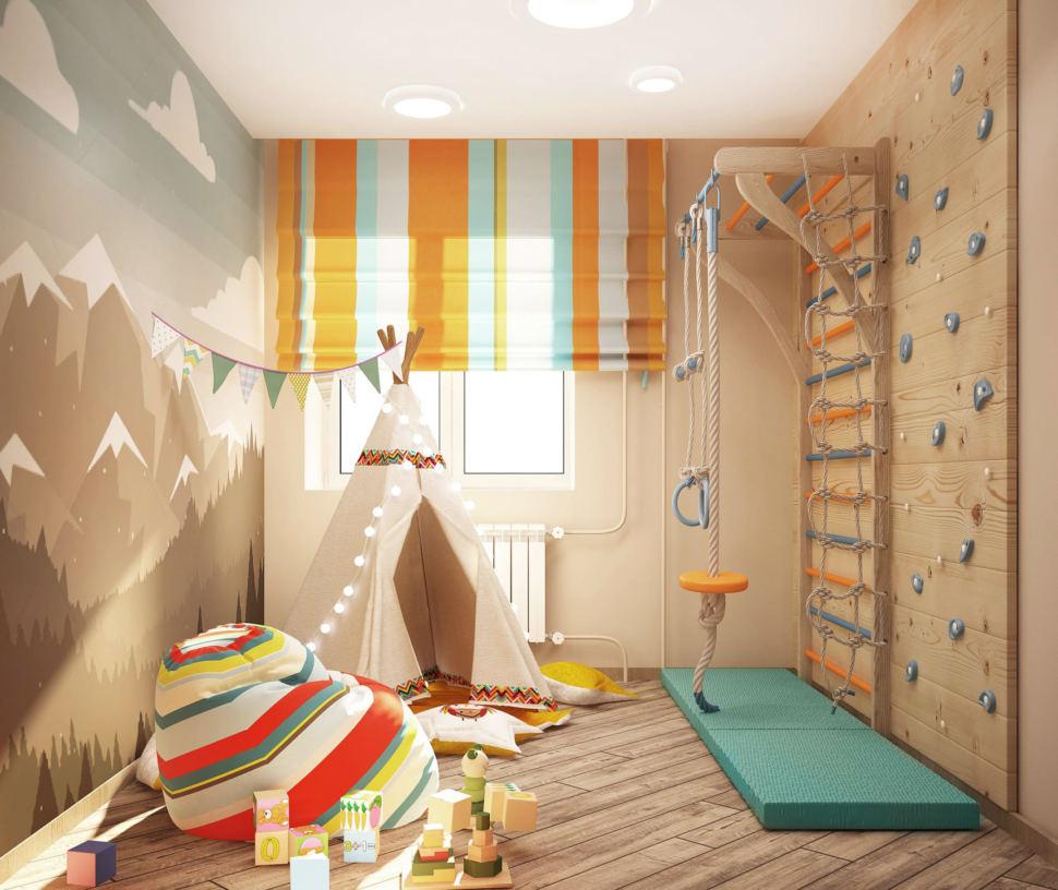 Дизайн-интерьера игровой комнаты в светлых тонах 9 кв.м, шведская стенка, кресло-мешок, белый вигвам, бежевый ламинат