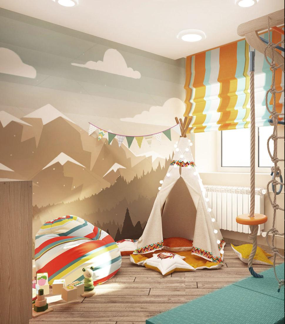 Дизайн-проект игровой комнаты в светлых тонах 9 кв.м, фотообои, шведская стенка, кресло-мешок, вигвам
