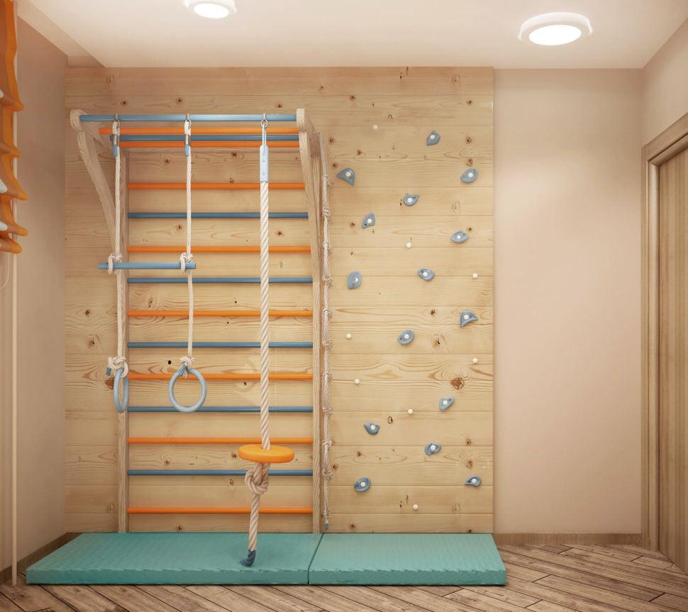 Визуализация детской игровой комнаты 9 кв.м с желтыми и оранжевыми оттенками, шведская стенка, кресло мешок, контейнеры для хранения