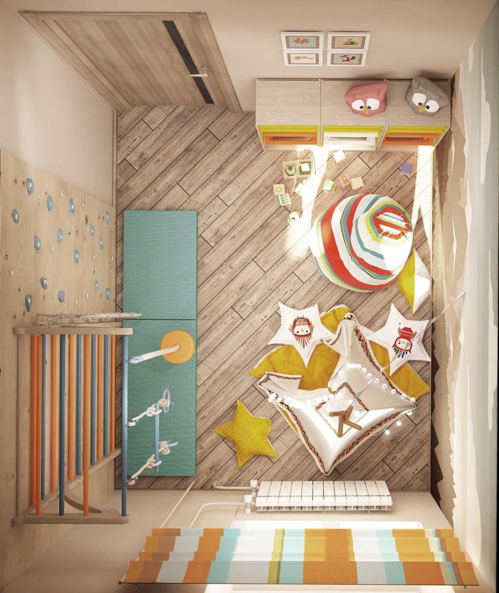 Визуализация игровой комнаты в светлых тонах 9 кв.м, белый вигвам, бежевая тумба, фотообои, шведская стенка, цветное кресло-мешок