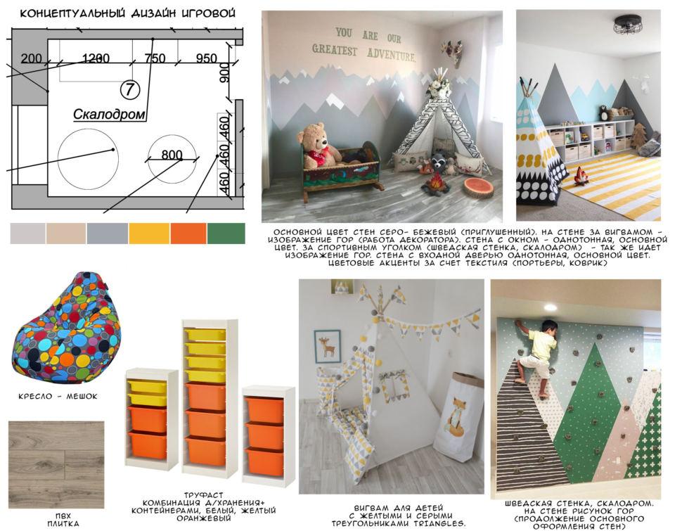 Концептуальный дизайн детской игровой комнаты 9 кв.м с кофейными и оранжевыми оттенками, комбинация контейнеров для хранения