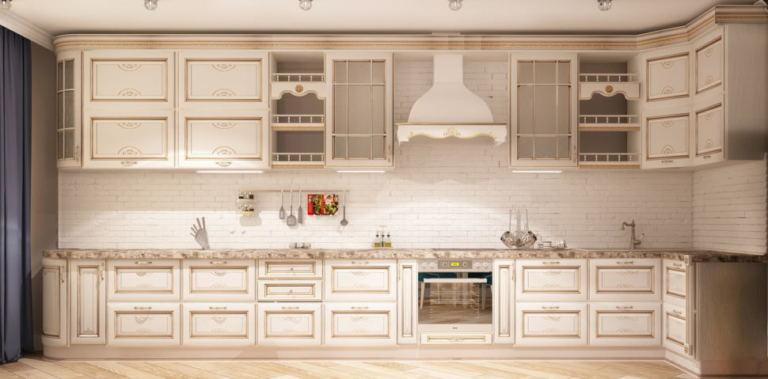 Интерьер кухни-гостиной 32 кв.м в бежевых тонах, белый кухонный гарнитур, бежевая столешница, духовой шкаф, вытяжка