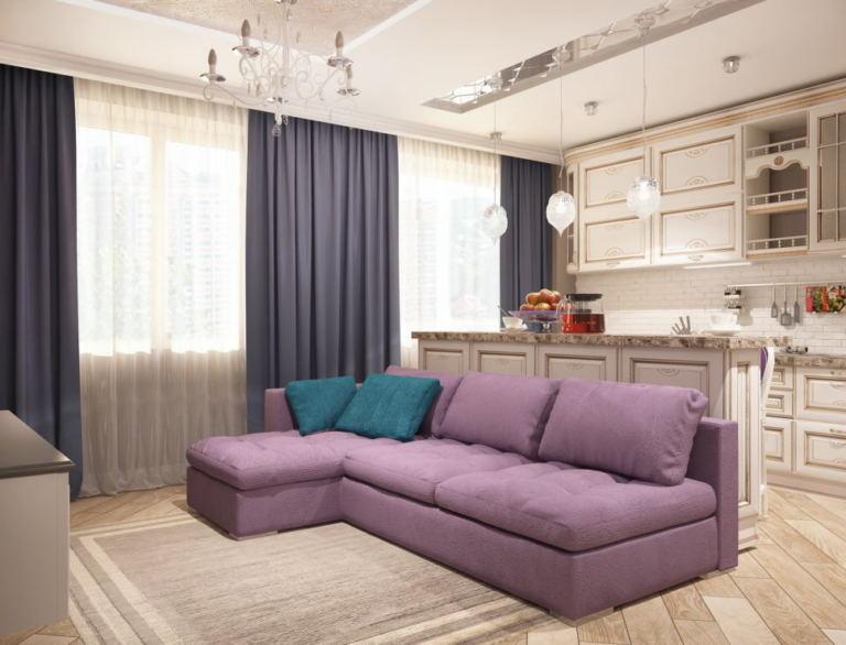 Визуализация кухни-гостиной 32 кв.м , фиолетовый диван, синие портьеры, кухонный гарнитур, барная стойка, подвесные светильники