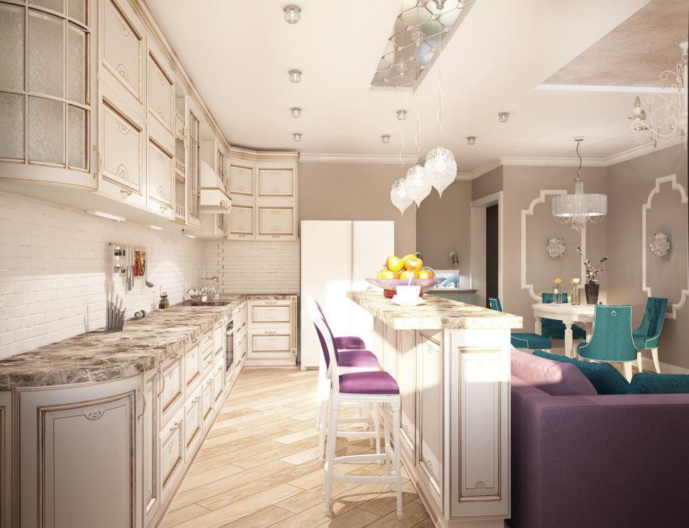 Интерьер кухни-гостиной 32 кв.м в бежевых тонах с бирюзовыми и фиолетовыми оттенками, белый кухонный гарнитур, подвесные светильники