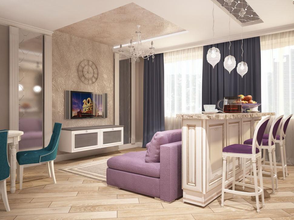 Дизайн-проект кухни-гостиной 32 кв.м в бежевых тонах, фиолетовый диван, белая тумба под ТВ, барная стойка