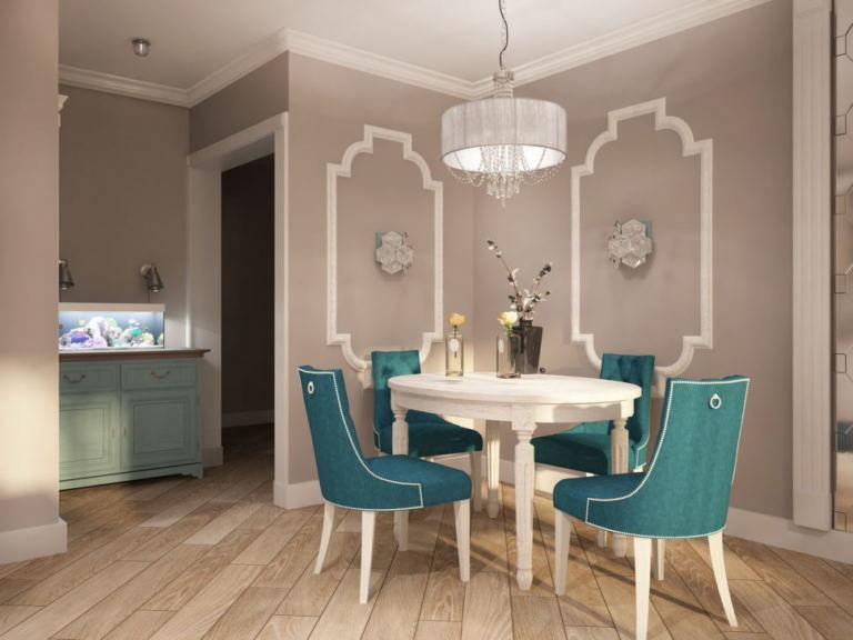 Визуализация кухни-гостиной 32 кв.м в бежевых тонах, обеденный стол, бирюзовые стулья, люстра, бирюзовая тумба, классика