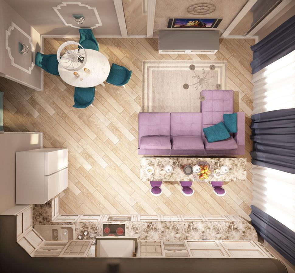 Визуализация кухни-гостиной 32 кв.м в бежевых тонах, угловой диван, обеденный стол, кухонный гарнитур, барная стойка