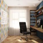 Дизайн проект кабинета 14 кв.м, офисный стул, акцентная стена, доска, бежевый паркет, рабочий стол, стеллаж