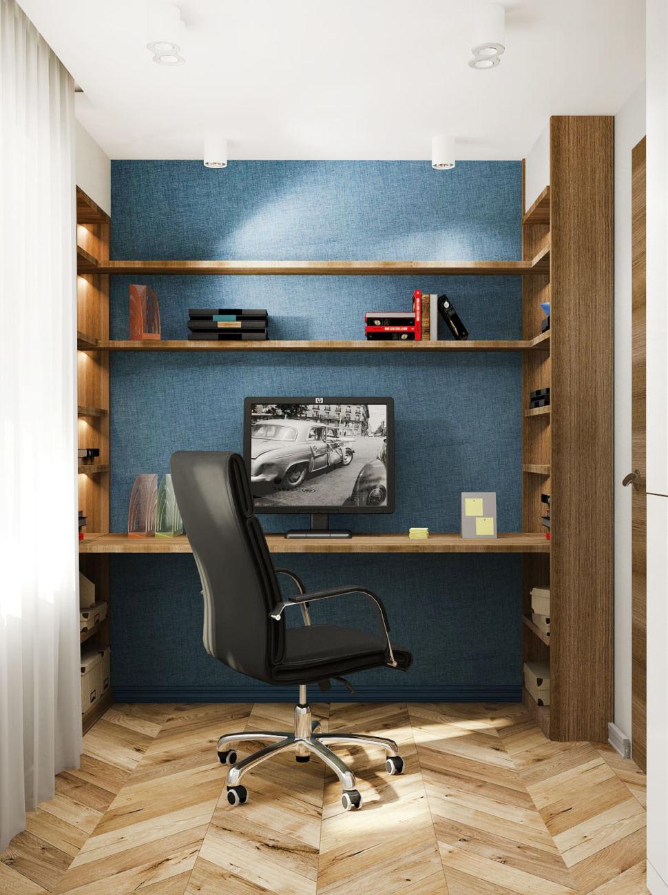 Визуализация комфортного кабинета 14 кв.м в 4-х комнатной квартире с древесными оттенками, рабочий стол, стеллаж, доска, белый шкаф