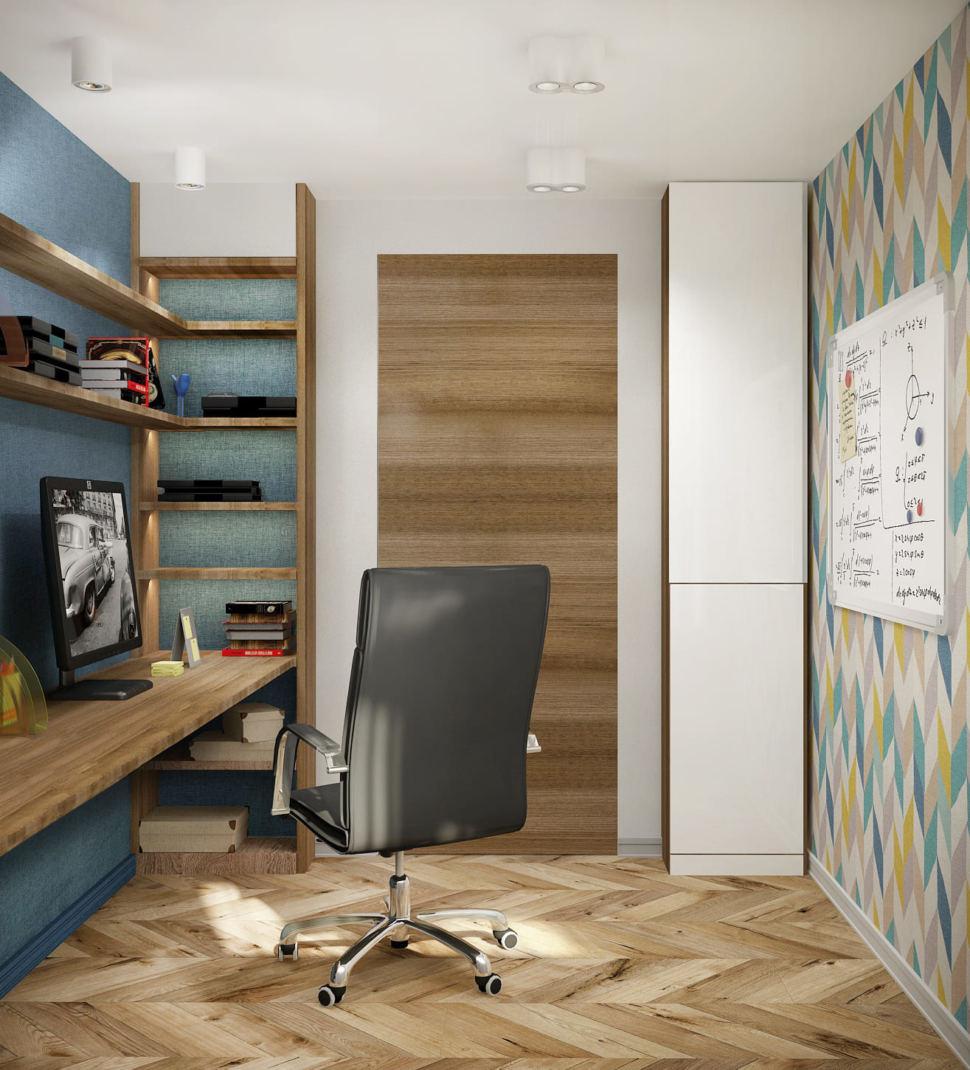 Дизайн интерьера кабинета в теплых тонах 14 кв.м, черный офисный стул, рабочий стол, бежевый стеллаж, компьютер