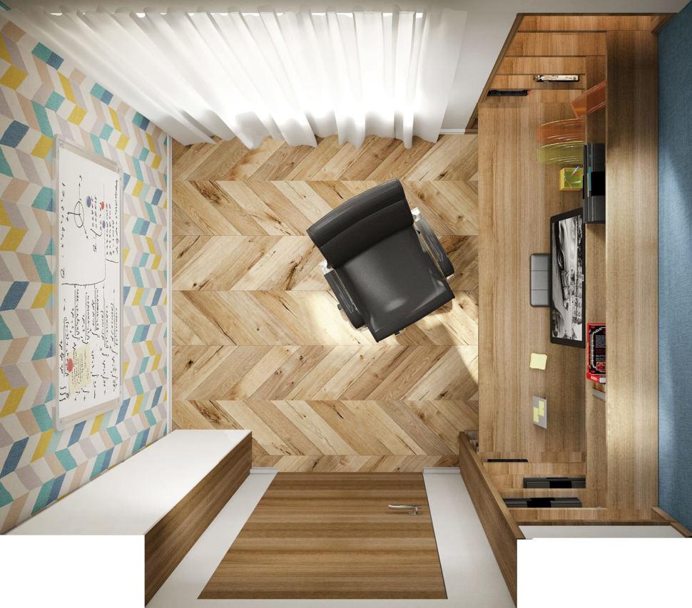 Визуализация кабинета в теплых тонах 14 кв.м, черный офисный стул, доска, рабочий стол, компьютер, полки