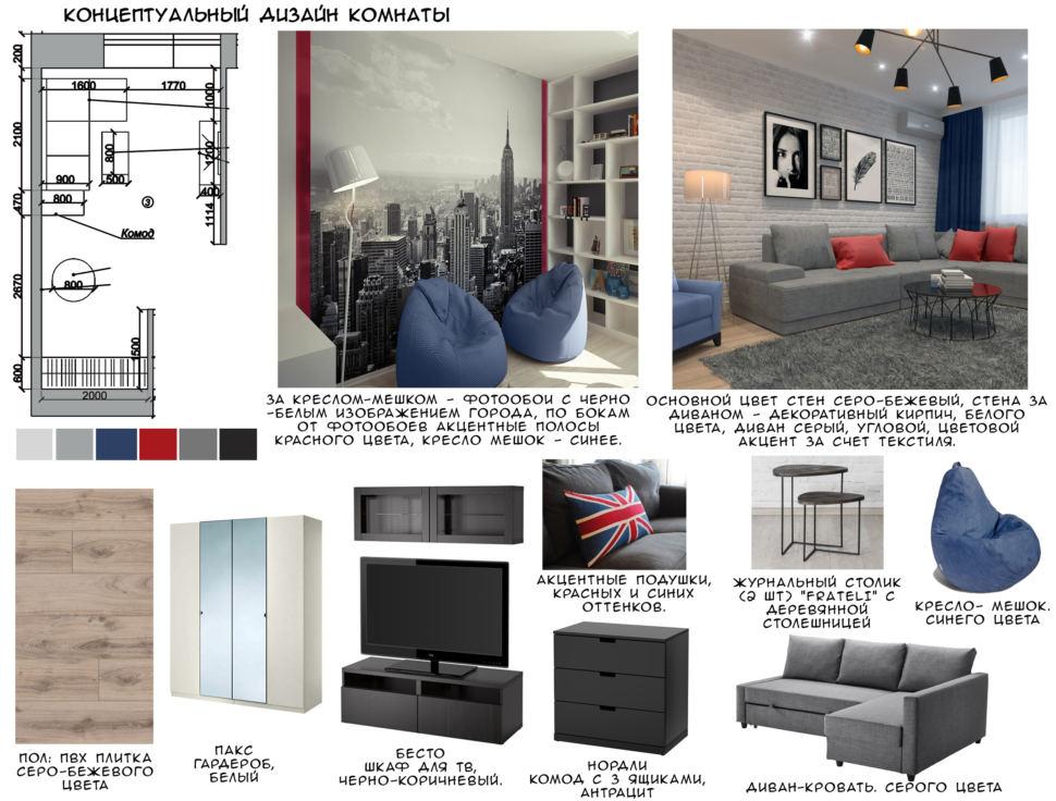 Концептуальный дизайн комнаты, белый шкаф, серый угловой диван, пвх плитка, черный комод, кресло-мешок