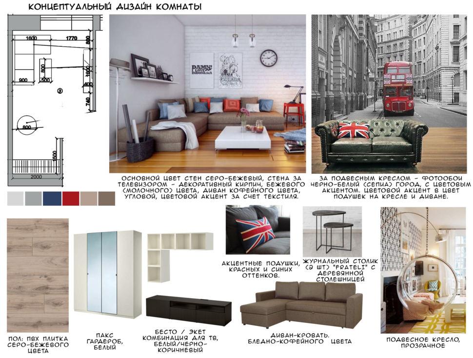 Концептуальный дизайн гостиной 18 кв.м, пвх плитка, белый гардероб, диван-кровать, подвесное кресло, журнальный столик, фотообои