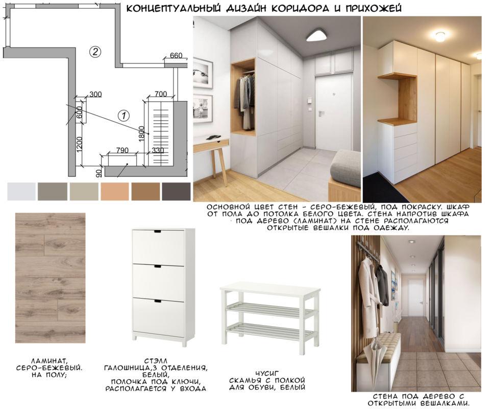 Концептуальный дизайн коридора 4 кв.м и прихожей 8 кв.м, белая галошница, белая скамья, светло-бежевый ламинат, белый шкаф, вешалка