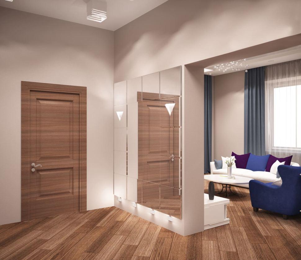 Дизайн-проект коридора 16 кв.м в коттедже с пастельными бежевыми тонами, белый шкаф, лестница, светильники, паркет,зеркало