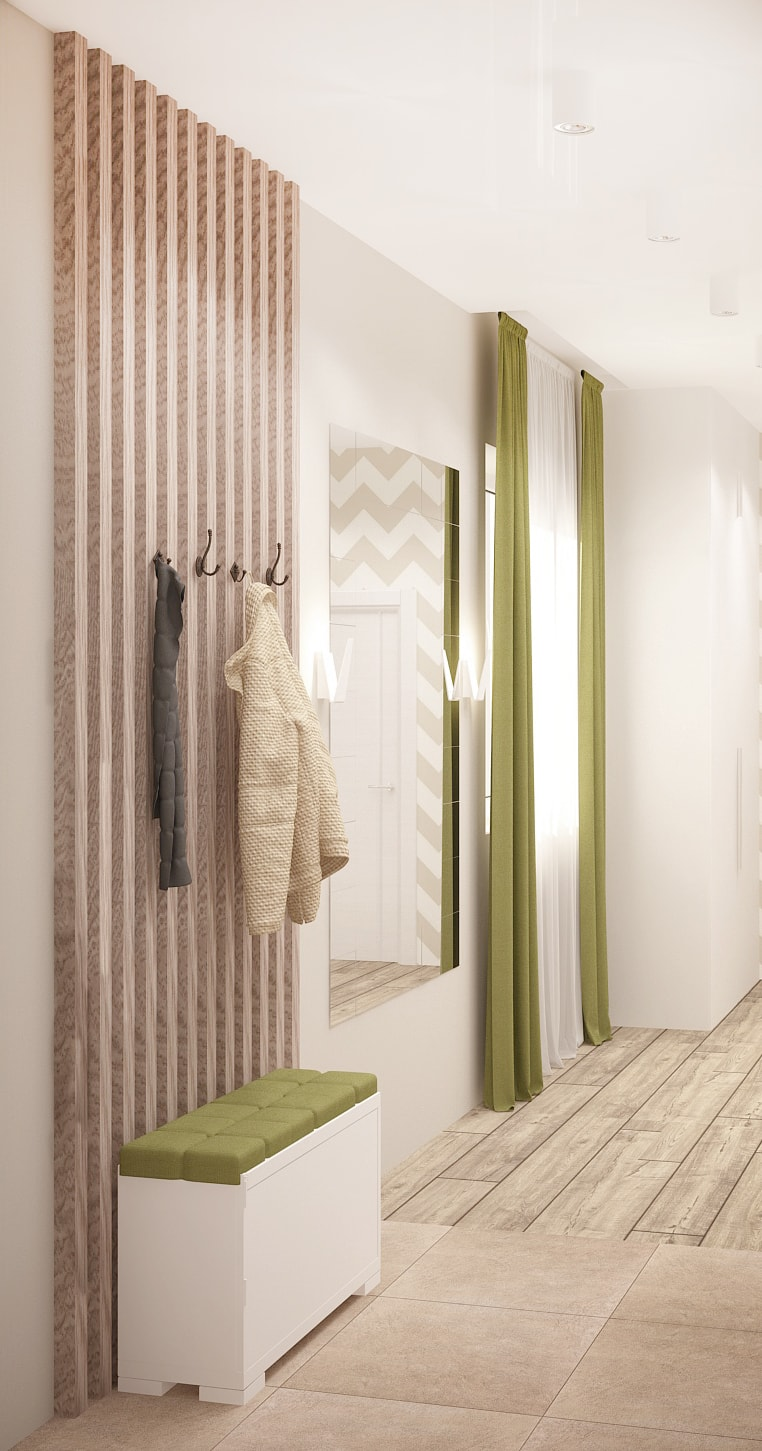 Дизайн прихожей 7 кв.м с зеленными оттенками, тумба, вешалка, зеркало, деревянные бруски