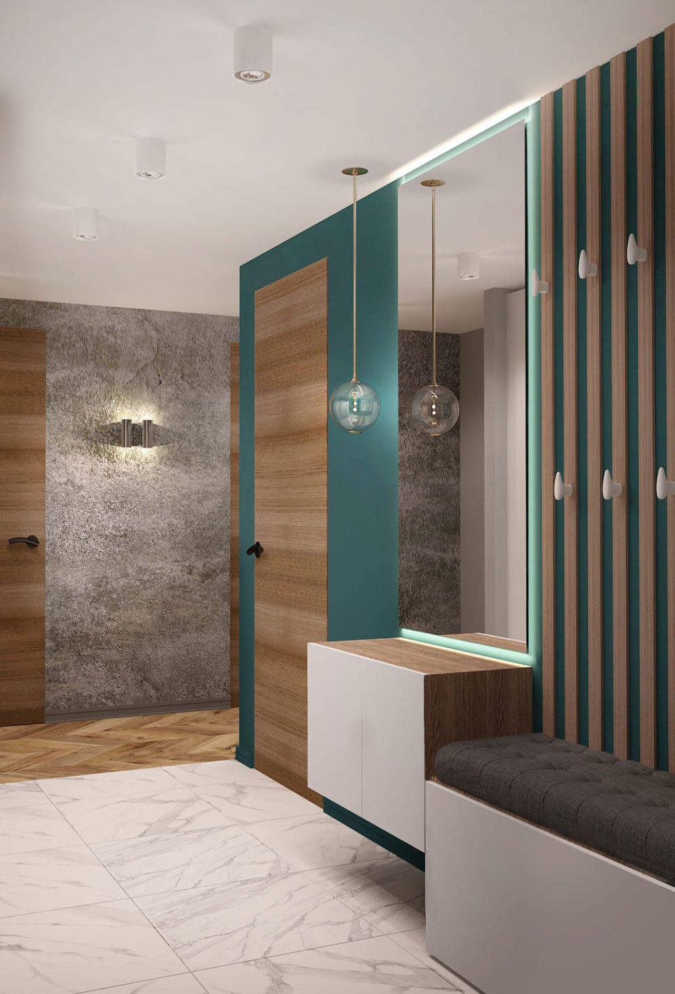 Дизайн интерьера прихожей в бирюзовых тонах 7 кв.м, белая скамья, зеркало, подвесной светильник, тумба, белая плитка под мрамор