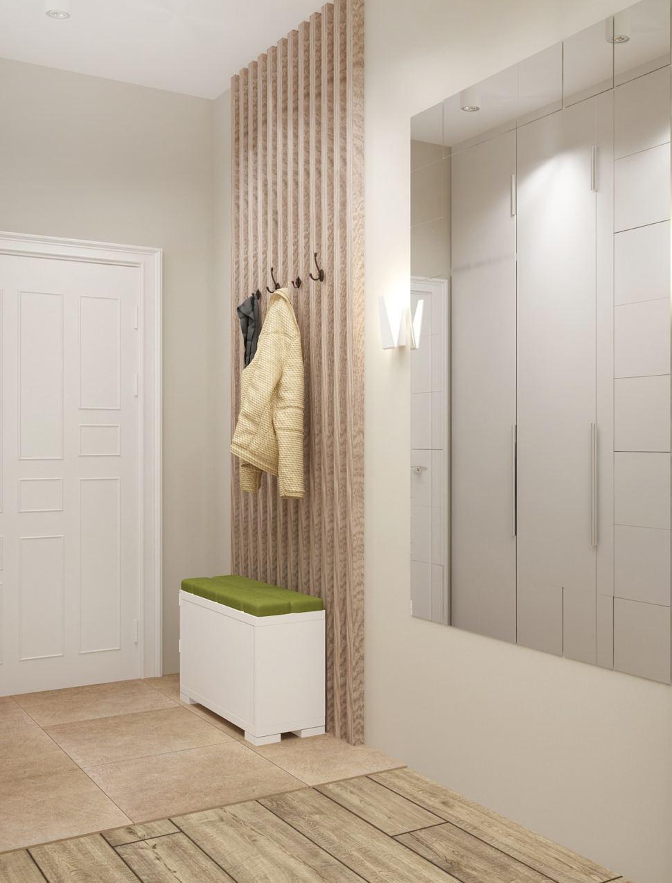 Дизайн прихожей 7 кв.м в белых тонах, белая скамья, зеркало, вешалка, деревянные бруски
