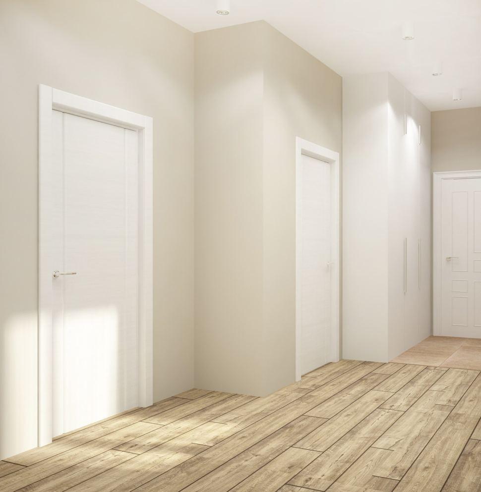 Дизайн коридора 8 кв.м в белых тонах, межкомнатные двери, белый шкаф