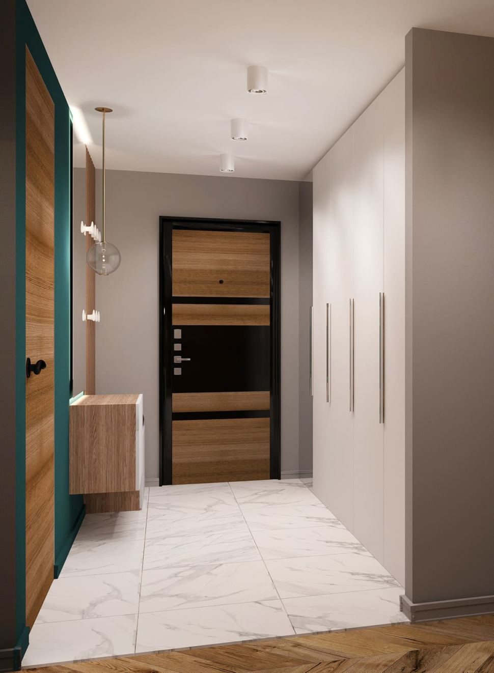 Дизайн-проект прихожей 7 кв.м и коридора 6 кв.м в современном лофте с древесными и серыми оттенками, зеркало, подвесной светильник, белая скамья