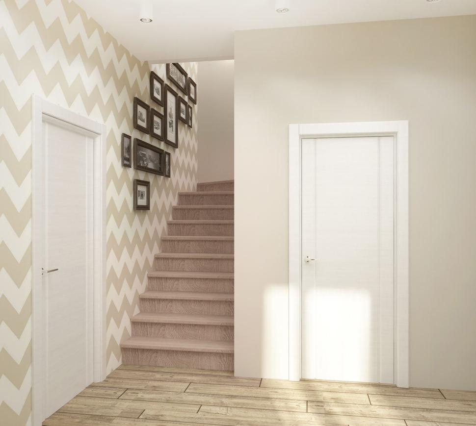 Визуализация коридора 8 кв.м в теплых тонах, лестница, картины, обои межкомнатные двери