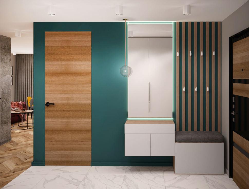 Дизайн интерьера прихожей 7 кв.м и коридора 6 кв.м в современном лофте с древесными и серыми оттенками, зеркало, подвесной светильник, плитка