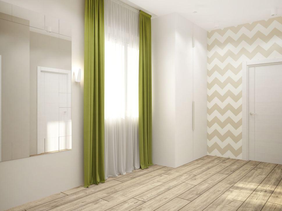 Визуализация коридора 8 кв.м с зелеными оттенками, зеркало, паркет, белый шкаф, бежевые обои с рисунком