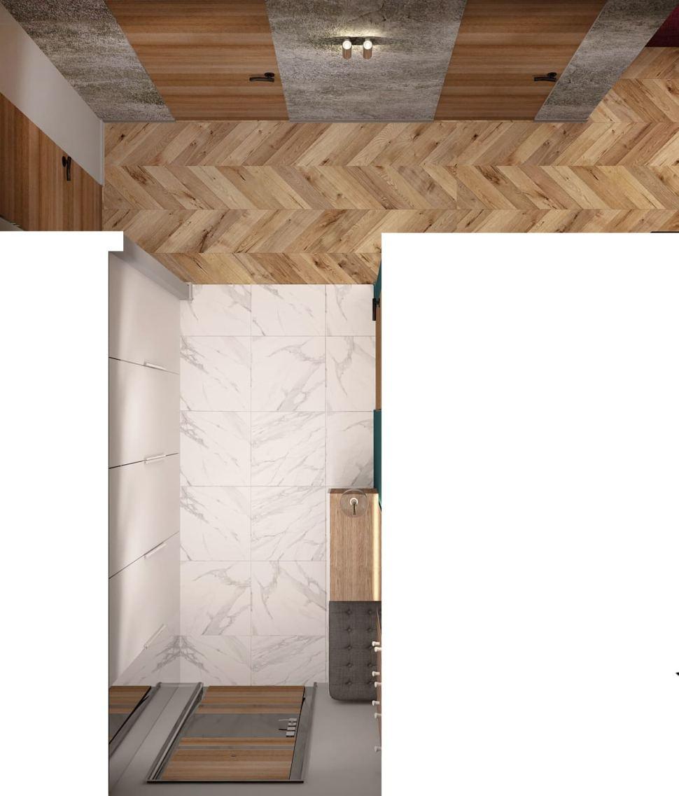 Визуализация коридора в теплых тонах 6 кв.м, бежевый паркет, белый шкаф, настенные светильники, белая скамья, зеркало