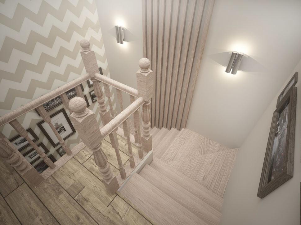 Дизайн коридора 8 кв.м в теплых тонах, паркет, светильники, лестница, деревянные бруски