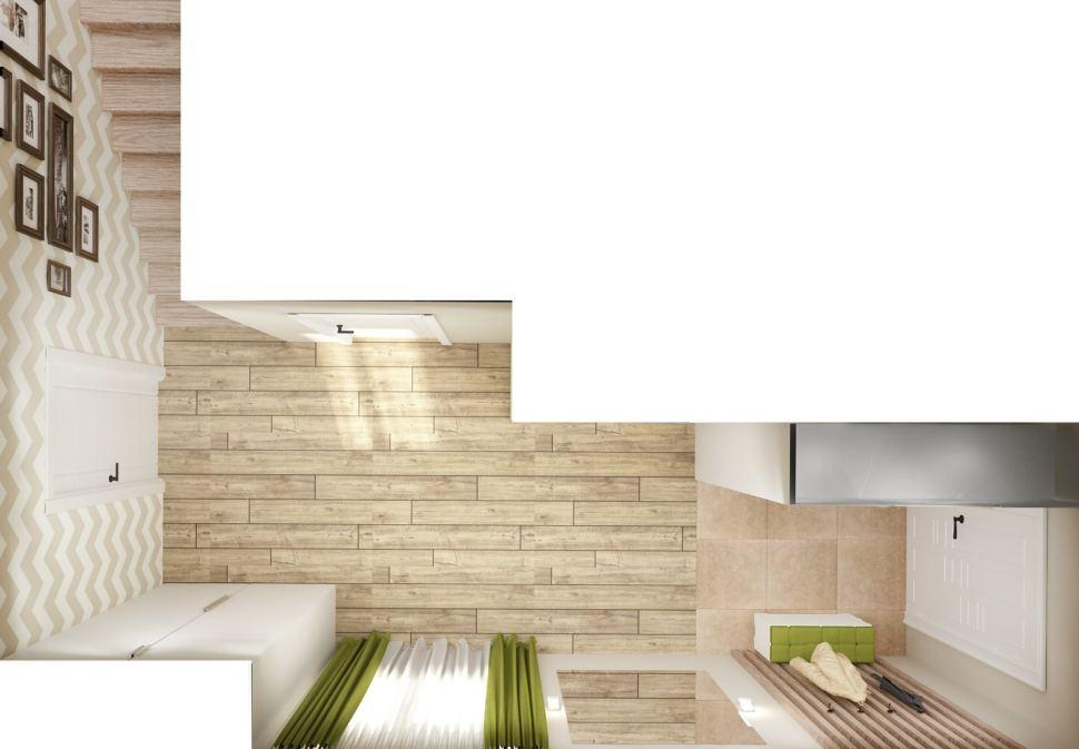 Визуализация коридора 8 кв.м с зеленными оттенками, паркет, зеркало, обои, картины, деревянные бруски