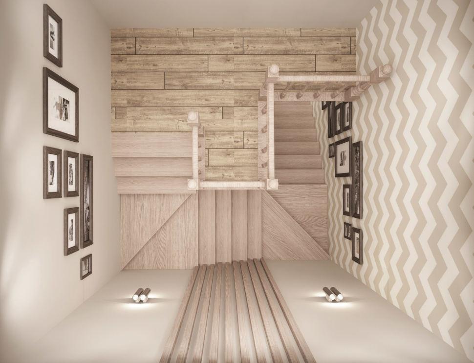 Дизайн коридора 8 кв.м в бежевых тонах, лестница, декор, обои, картины, бра, бруски