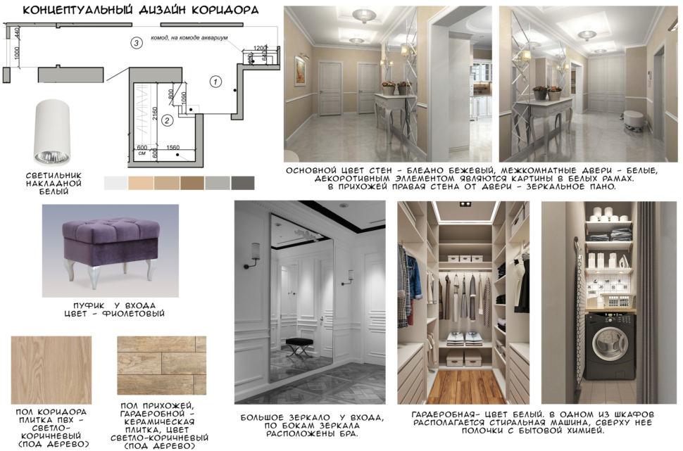 Концептуальный дизайн коридора 14 кв.м, фиолетовый пуф, светло-коричневая пвх плитка, керамическая плитка, зеркало, гардеробная