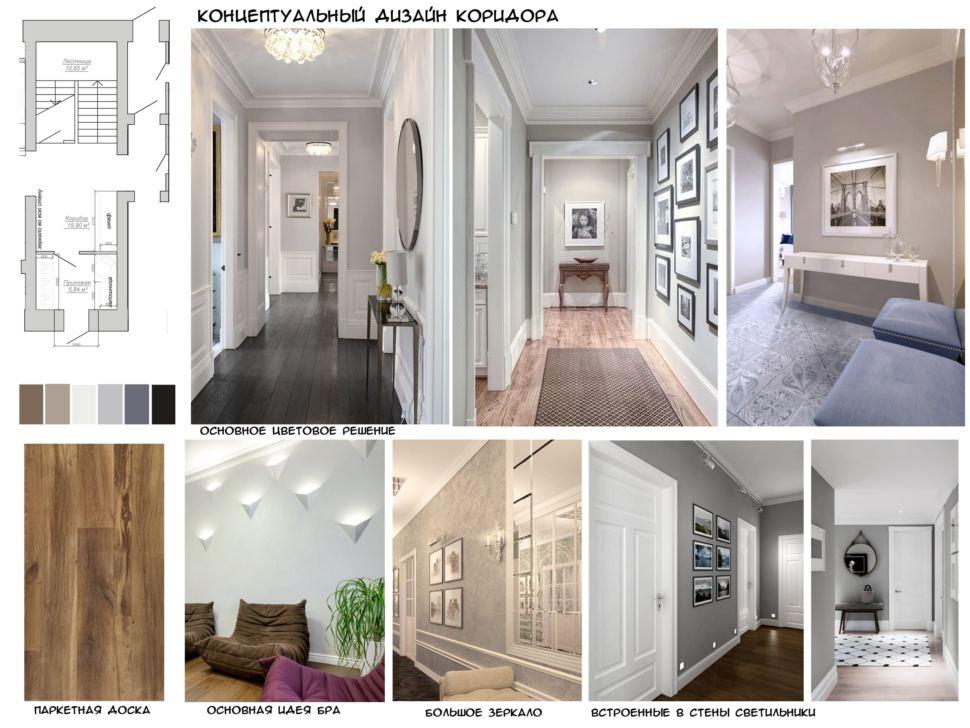 Концептуальный дизайн коридора 16 кв.м в коттедже с пастельными бежевыми тонами, паркетная доска, больше зеркало, встроенные светильники