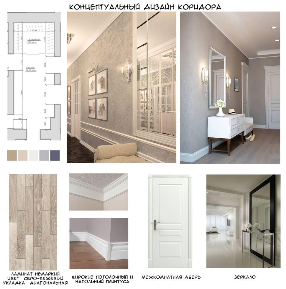 Концептуальный дизайн коридора 15 кв.м в теплых тонах, ламинат, плинтуса, зеркало