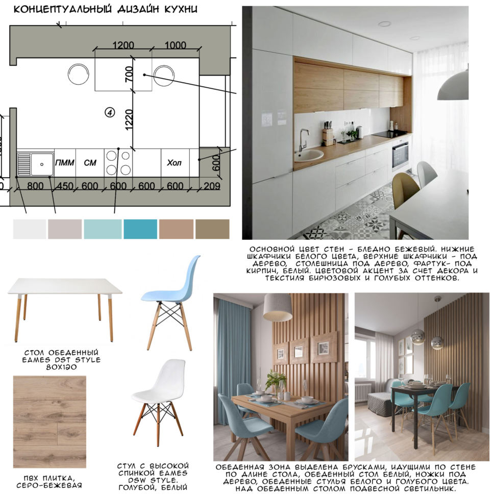 Концептуальный дизайн кухни 10 кв.м в современном стиле в теплых тонах, серо-бежевая пвх плитка, обеденный стол