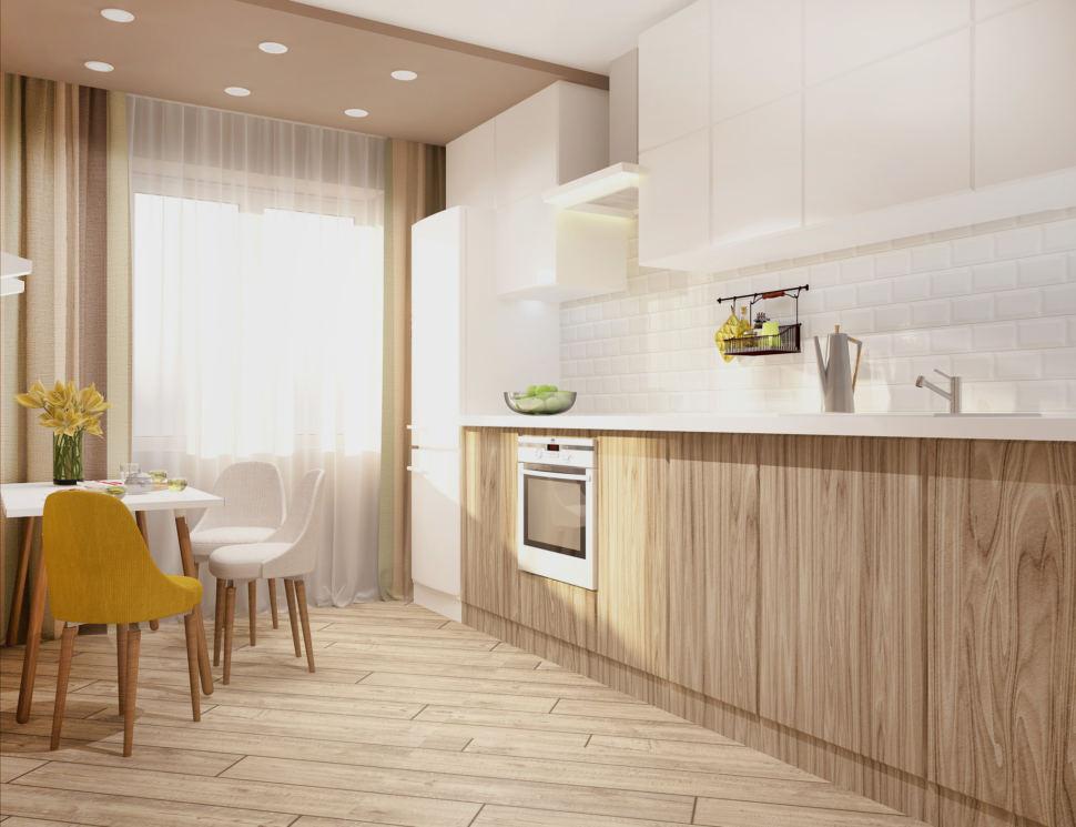 Дизайн-проект кухни в белых тонах 11 кв.м, обеденный стул, обеденные стулья, кухонный гарнитур, холодильник, кофейные шторы