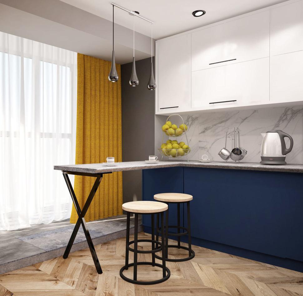 Дизайн интерьера кухни в синих тонах 15 кв.м, барная стойка, подвесные светильники, желтые портьеры, белые полки