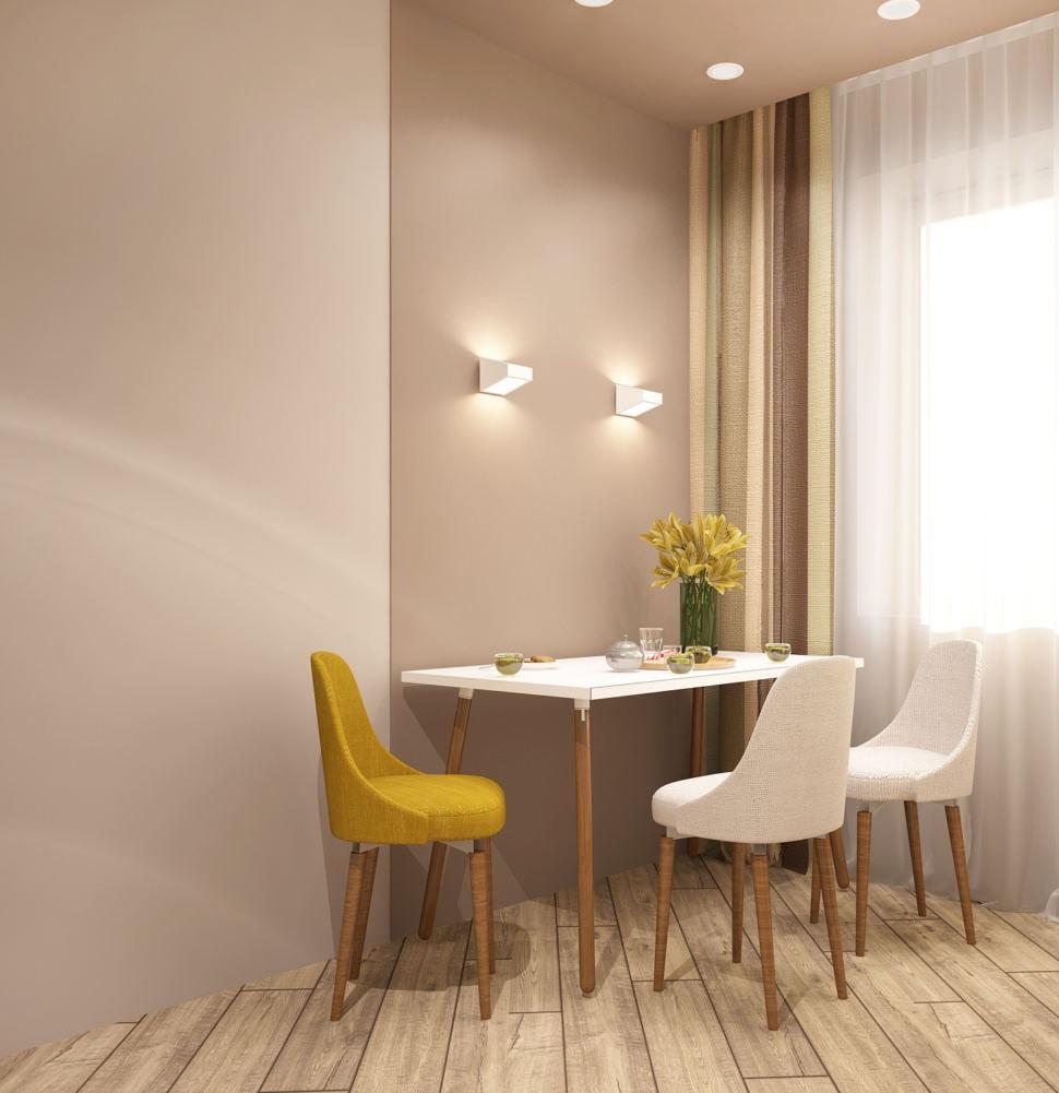 Визуализация кухни в белых тонах 11 кв.м, белый обеденный стол, потолочные светильники, бежевый ламинат, желтый стул, белые стулья