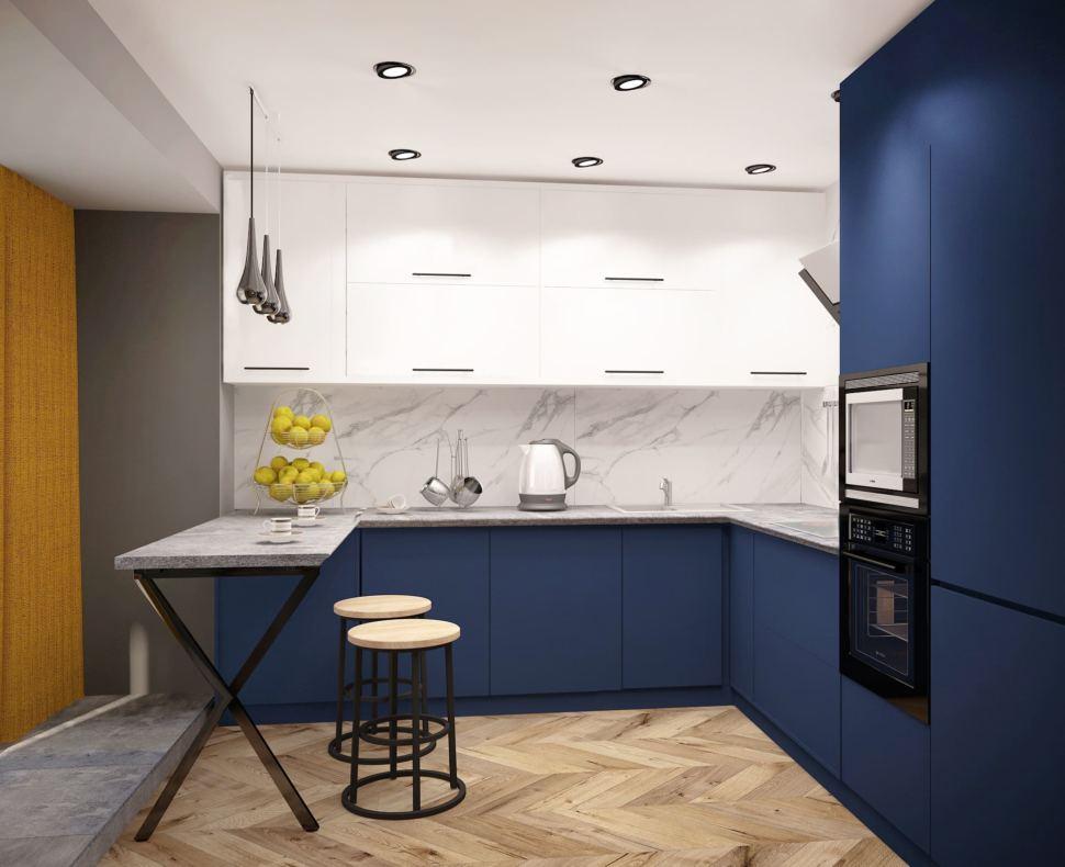 Визуализация кухни 14 кв.м в синих тонах с черными оттенками, светильник, желтые шторы, вытяжка, плита, синий кухонный гарнитур