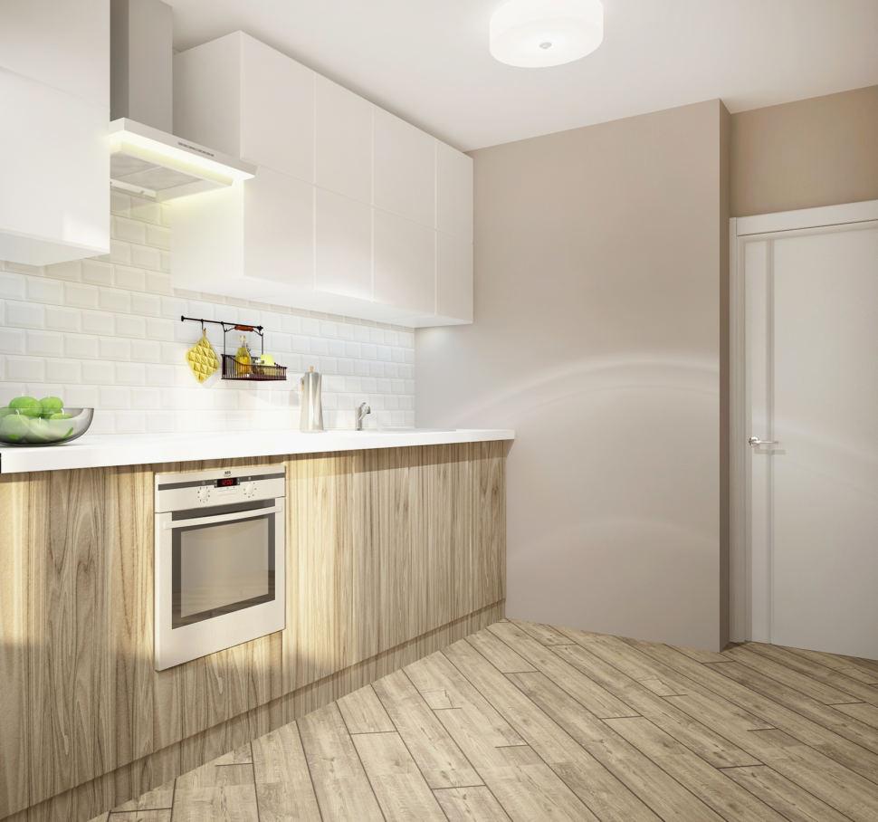Дизайн интерьера кухни в белых тонах 11 кв.м, подвесные полки, кухонный гарнитур, белый духовой шкаф, бежевый ламинат, светильники