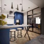 Дизайн-проект кухни в синих тонах 15 кв.м, бежевые барные стулья, холодильник, потолочные светильники, синий кухонный гарнитур