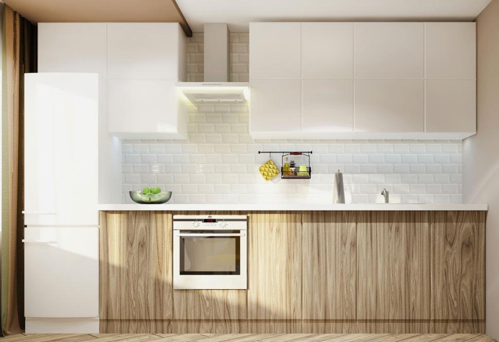 Дизайн-проект кухни в белых тонах 11 кв.м, холодильник, вытяжка, кухонный гарнитур под дерево, белые подвесные полки, духовой шкаф