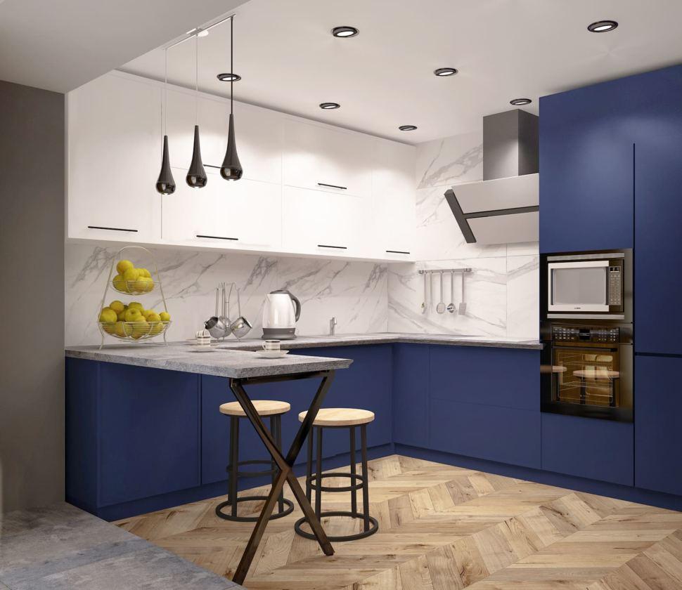 Визуализация кухни в синих тонах 15 кв.м, барная стойка, барные стулья, черные подвесные светильники, кухня