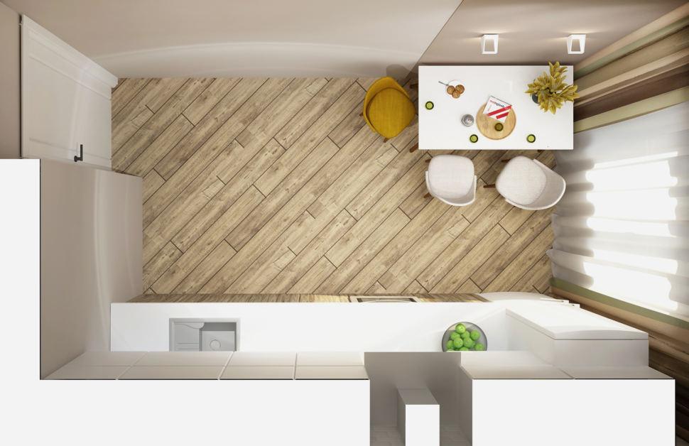 Визуализация кухни в белых тонах 11 кв.м, белый кухонный гарнитур, белый обеденный стол, желтые и белые обеденные стулья, вытяжка
