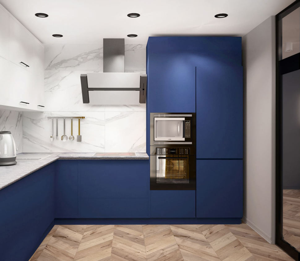 Дизайн-проект кухни 14 кв.м в синих тонах с синими оттенками, светильник, желтые шторы, вытяжка, каменная столешница, плита