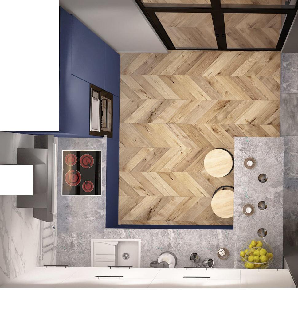 Дизайн-проект кухни 14 кв.м в синих тонах с серыми оттенками, светильник, желтые шторы, вытяжка, плита
