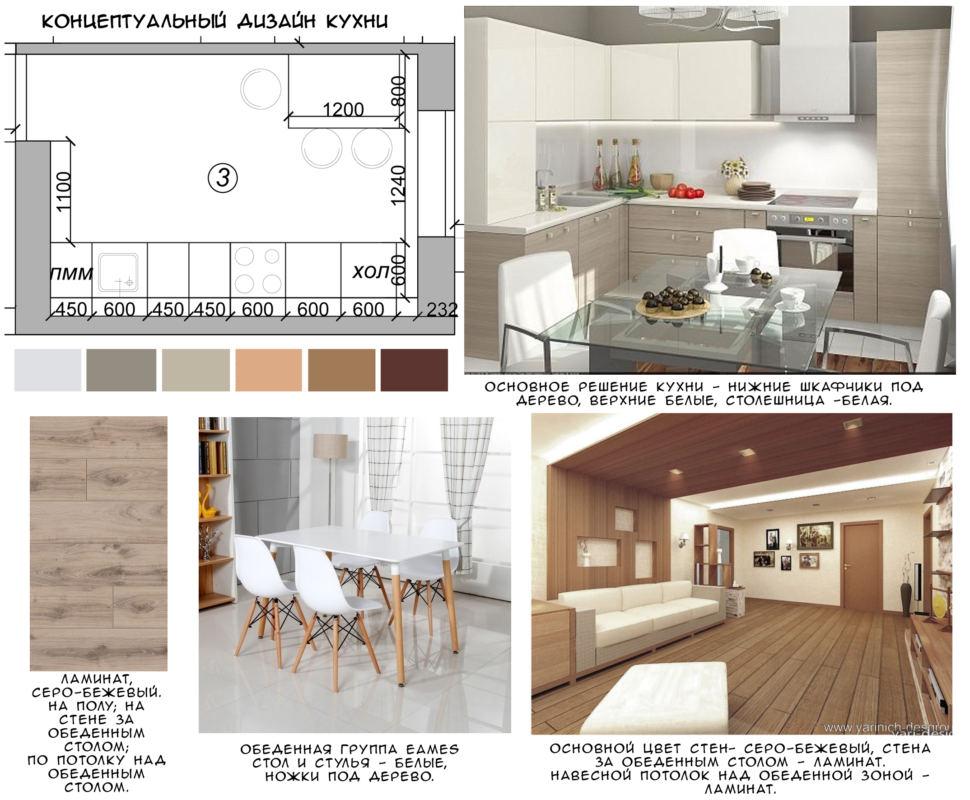 Концептуальный дизайн кухни 11 кв.м, серо-бежевый ламинат, белый обеденный стол, обеденный стулья, белая столешница